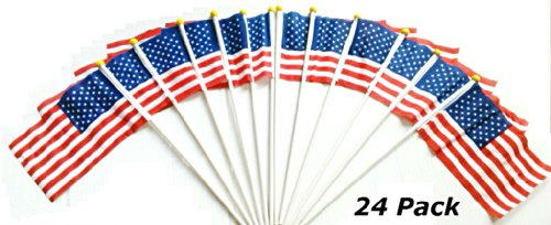 American Flag 12 Pack 6x9 inch on a 18 inch stick With Safe Round Top Small USA Flag Decoration Parades Handheld Lot (24)