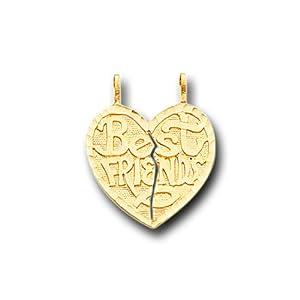 14K Yellow Gold Best Friends Heart Split Charm Pendant