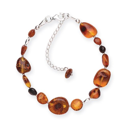 Goldmajor 925 Sterling Silver Two Tone Amber Beads and Nuggets Bracelet of 25cm with an Extension