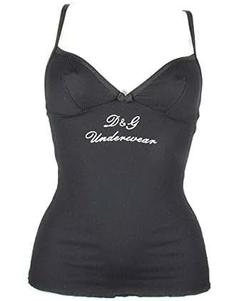 "DOLCE & GABBANA ""Microfibra a Costine"" Femme logo camisole nylon (noir) EU-M / US-S / FR-40"