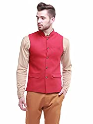 Jogur Red Color Casual Waistcoat for Men