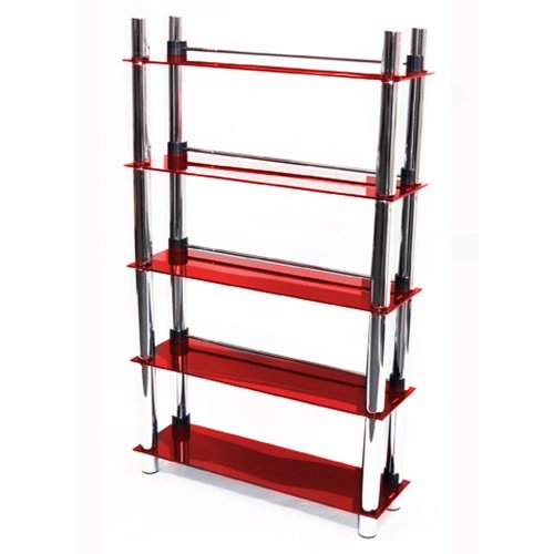 MATRIX - 5 Tier DVD Blu-ray / CD / Media Storage Shelves - Red