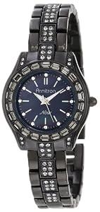 Armitron Women's 75/5053JMTI Swarovski Crystals Accented Round Black Ion-Plated Bracelet Watch