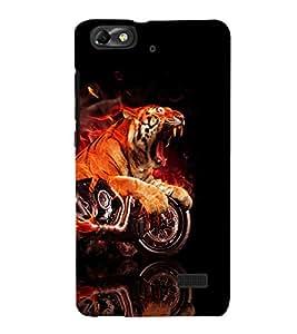 printtech Flaming Tiger Bike Back Case Cover for Huawei Honor 4C::Huawei G Play Mini