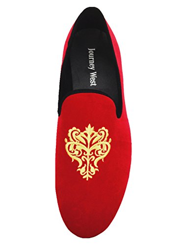 Men's Vintage Velvet Embroidery Noble Loafer Shoes Slip-on Loafer Smoking Slipper Black/Red/Blue 5
