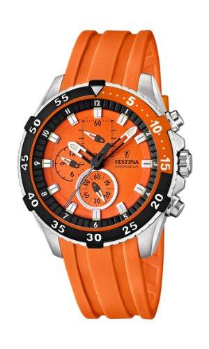 Festina F16604/3 - Reloj cronógrafo de cuarzo para hombre con correa de plástico, color naranja