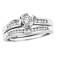 14K White Gold 1/2 ct. Diamond Bridal Engagement Set