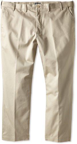 IZOD Men's Big-Tall Flat Front Extended Twill Pant, Khaki, 48x30