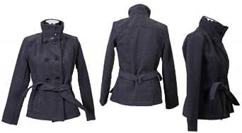 Luxus Damen Wintermantel Winterjacke Winter Jacke Mantel , Größe:44;Farbe:Grau