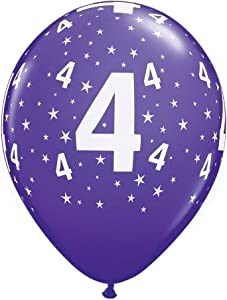 6 luftballons 4 geburtstag deko zahlenballon zahl 4 farbig sortiert ca 28 cm ballongas. Black Bedroom Furniture Sets. Home Design Ideas