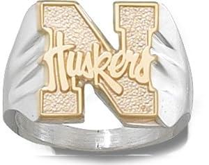 Nebraska Cornhuskers 10KT Gold N Huskers on Sterling Silver Mens Ring (Size 10 1 2) by Logo Art
