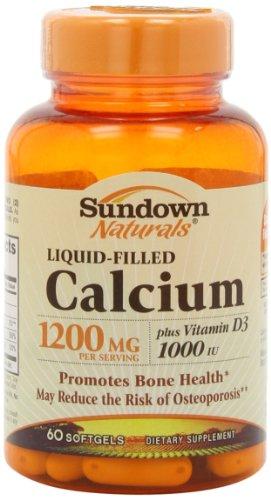 Sundown Naturals Calcium 1200 Plus D Liquid Filled Softgels, 60 Count