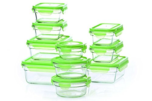 Tempered Glasslock Storage Containers 20pc set Green Lids Microwave & Oven Safe Airtight Anti Spill Proof (Tempered Glass Oven compare prices)