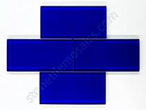 premium quality cobalt blue 3x6 glass subway tile for
