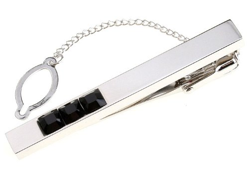 Gleaming Silver with Three Jet Crystal Inset Tie Clip Button Chain