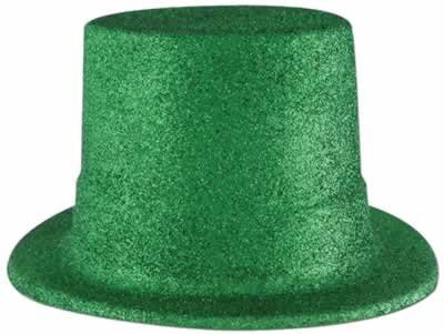 Green Glittered Top Hat Party Accessory (1 count) (1/Pkg) - 1