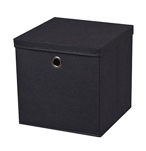 2-Stck-Faltbox-Schwarz-28-x-28-x-28-cm-Aufbewahrungsbox-faltbar-mit-Deckel