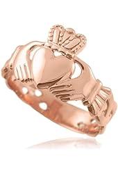 Men's Solid 14k Rose Gold Trinity Knot Band Irish Claddagh Ring