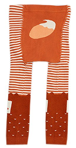CHUNG Baby Toddler Boys Girls Cotton Footless Ankle Length Tights Soft Stretchy 6M-4Y, Orange Fox, 6-24 Months
