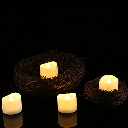 homemory realistic and bright flickering battery operated flameless led tea light for seasonal. Black Bedroom Furniture Sets. Home Design Ideas