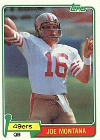Joe Montana 1981 Topps ROOKIE Card #216 - San Francisco 49ers - NFL Football Cards