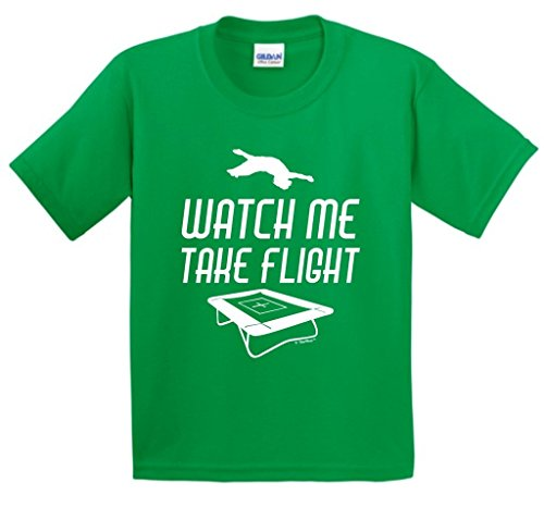Watch Me Take Flight Trampoline Youth T-Shirt Large Green
