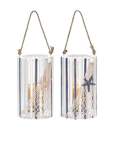 Set of 2 Wood and Glass Lanterns