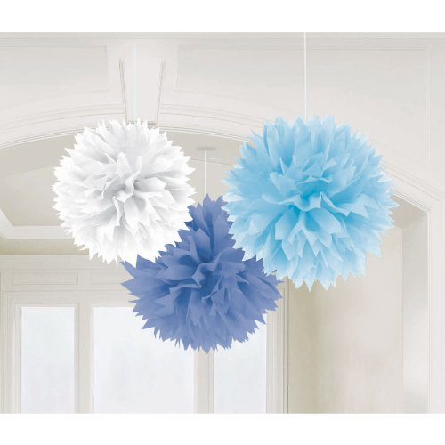 "Amscan Fluffy Baby Shower Hanging for Party Decorations, 16"", Blue - 1"