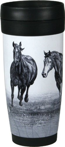River's Edge 16-Ounce Stainless Steel and Plastic Travel Mug (Running Horses Design)