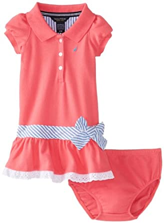 Nautica Baby Girls' Pique Mini Stripe Waist Dress, Rose, 18 Months
