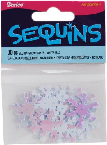 Darice Snowflake Sequins, 1-Inch, White Iridescent, 30-Pack - 1