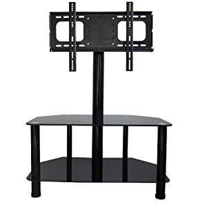Home Source Industries TV12348 Sahara Modern TV Stand with Mount and Shelves for Components, Black