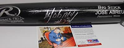 "Jose Abreu Chicago White Sox PSA DNA ""IN The Presence COA"" Autographed Signed Baseball Bat Black"