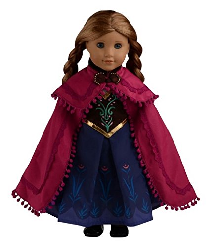 "Glamerup: Frozen Sparkle Anna Of Arendelle 18"" Doll Dress With Cape"