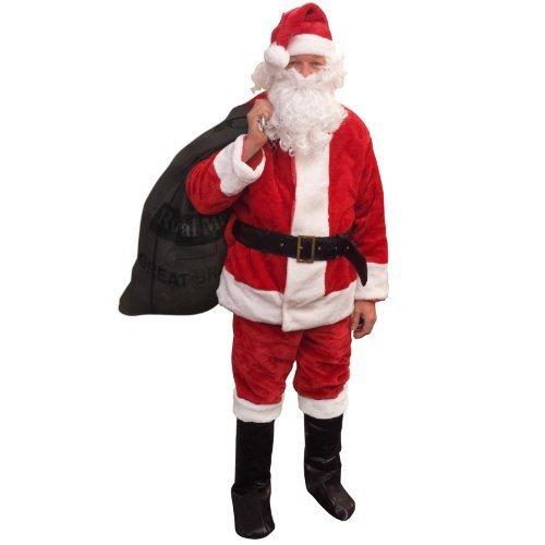 Plush Father Christmas Santa Claus Fancy Dress Costume Suit Deluxe Faux Fur Mens by Amscan