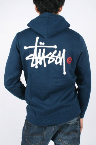 Stussy - Mens Ss Basic Logo Zip Hoodie In Indigo/White-Red, Size: Large, Color: Indigo/White-Red