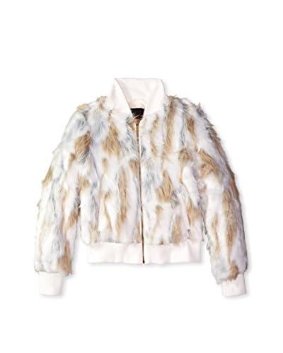 Yoki Women's Faux Fur Jacket  [Black/White]
