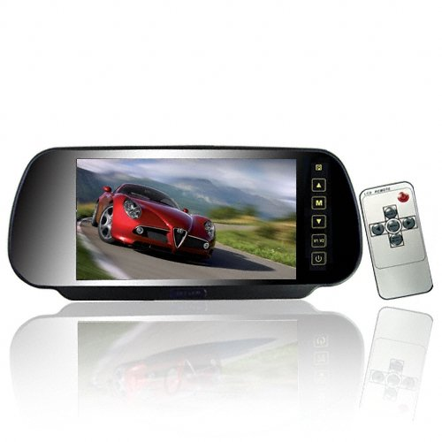 7 Inch 16:9 TFT LCD Widescreen Car Rearview Monitor Mirror with Touch Button, 480(W)x 234(H) Screen Resolution, Car /Automobile Rear View Mirror Display Monitor Support Two Ways Of Video Output, V1/V2 Selecting