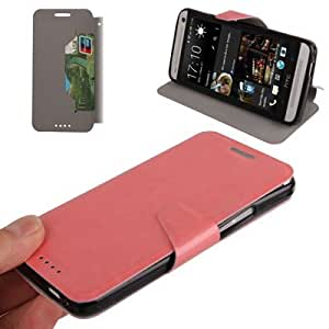 Crocodile Texture Horizontal Flip Magnetic Buckle Mxd Leather Case Cover with Credit Card Slots & Holder for HTC One M7 Pink