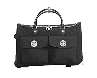 Baggallini Luggage Rome Quilted Rolling Tote Bag, Charcoal, One Size