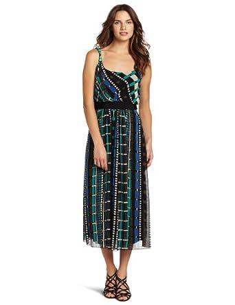 Jones New York Women's Geometric Stripe Chiffon Maxi Dress, Green, 4