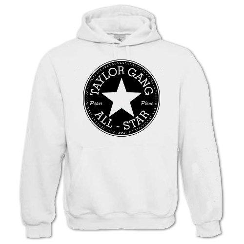 Bang Tidy Clothing Unisex-Adult Hip Hop Music Hoodie Inspired By Taylor Gang All-Star Wiz Khalifa Medium White