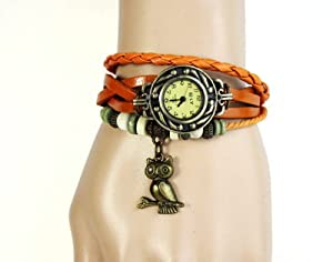 Top Seller Newest Vintage Women Leather Quartz Owl Pendant Bead Bracelet Wrist Watch