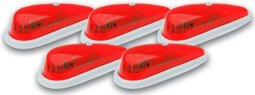 Pacer Performance 20-215 Hi-Five Red Teardrop Style Cab Roof Light Kit, (Pack of 5)