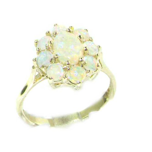 Luxury Sterling Silver Womens Colorful Fiery AAA Grade Opal Cluster Ring - Size 12 - Finger Sizes 5 to 12 Available - Suitable as an Anniversary ring, Engagement ring, Eternity ring, or Promise ring