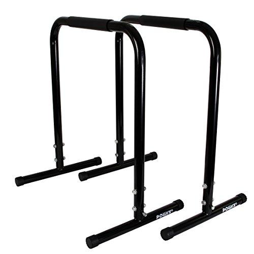 Parallele fitness ideali per il POTENZIAMENTO e la tonificazione muscolare - Prese con rivestimento in gomma per un allenamento in tutta SICUREZZA - Indicate per l'esecuzione di esercizi Dip, Pull-Up e Push-Up - Prodotto realizzato in ACCIAIO resistente e base ANTISCIVOLO - Altezza: 77 cm; Larghezza: 65 cm; Peso: 4,5 kg; Colore: nero