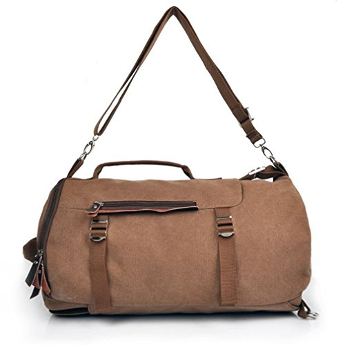 Men'S Big Multi-Purpose Canvas Casual All Cotton Travelling Bag Backpacks Travel Bag Pocket Coffe Fit For 14' Notebook