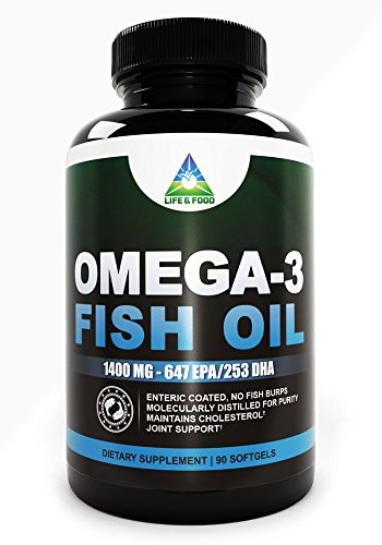 Omega 3 Fish Oil 1400 Mg (980 Mg Omega 3S) Non-Gmo, No Fish-Burps 90 Days Supply | Enteric Coated For Max Absorption W/ No Fishy Taste | Molecular Distilled, Contaminant Free