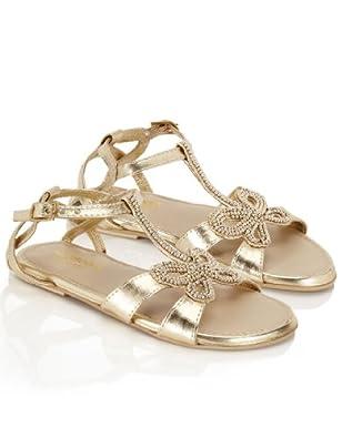 Monsoon Filles Sandales ornées de perles sur le devant Taille Chaussures 24 Or