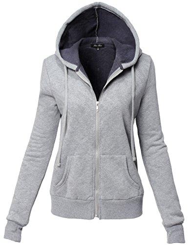 Inner Brushed Soft Zip Up Hoodie Fleece Jackets, Heather Grey, M